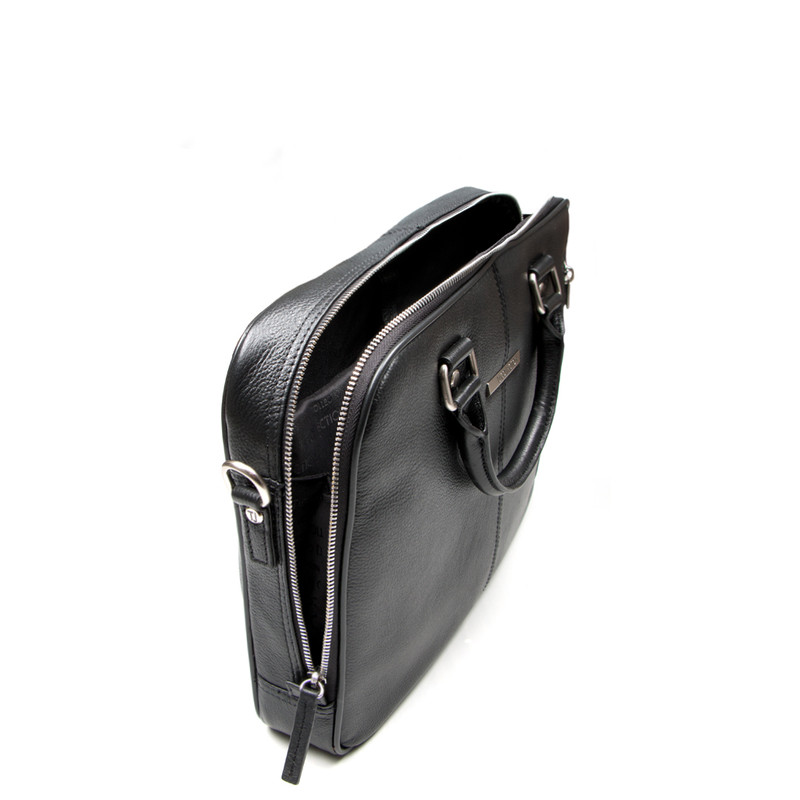 Black Grained Leather Business Bag Oxford YH 8431315 BLK | TJ COLLECTION | Side Image - 3