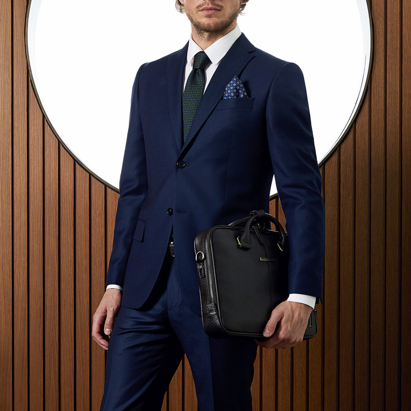 Black Grained Leather Business Bag Oxford YH 8431315 BLK | TJ COLLECTION | Side Image - 4