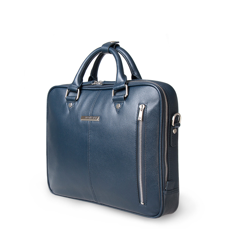 Navy Grained Leather Business Bag Oxford YH 8431316 NVY R | TJ COLLECTION | Side Image - 1