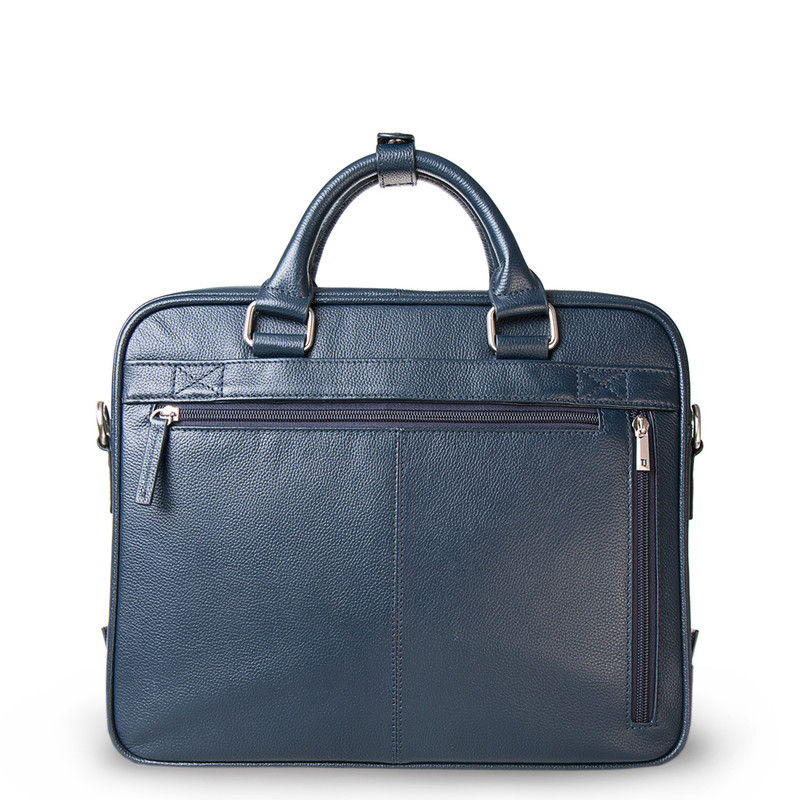 Navy Grained Leather Business Bag Oxford YH 8431316 NVY R | TJ COLLECTION | Side Image - 2