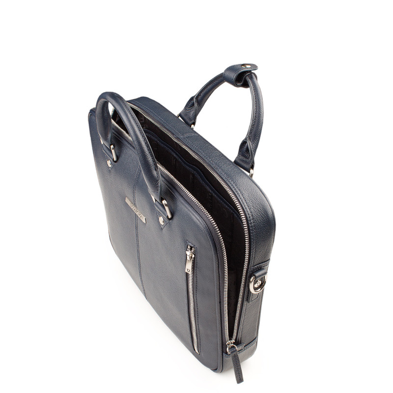 Navy Grained Leather Business Bag Oxford YH 8431316 NVY R | TJ COLLECTION | Side Image - 3