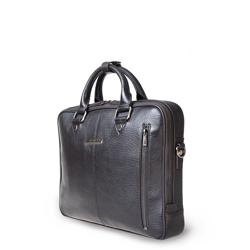 Brown Textured Leather Business Bag Oxford YH 8431316 DBI R | TJ COLLECTION | Side Image - 1