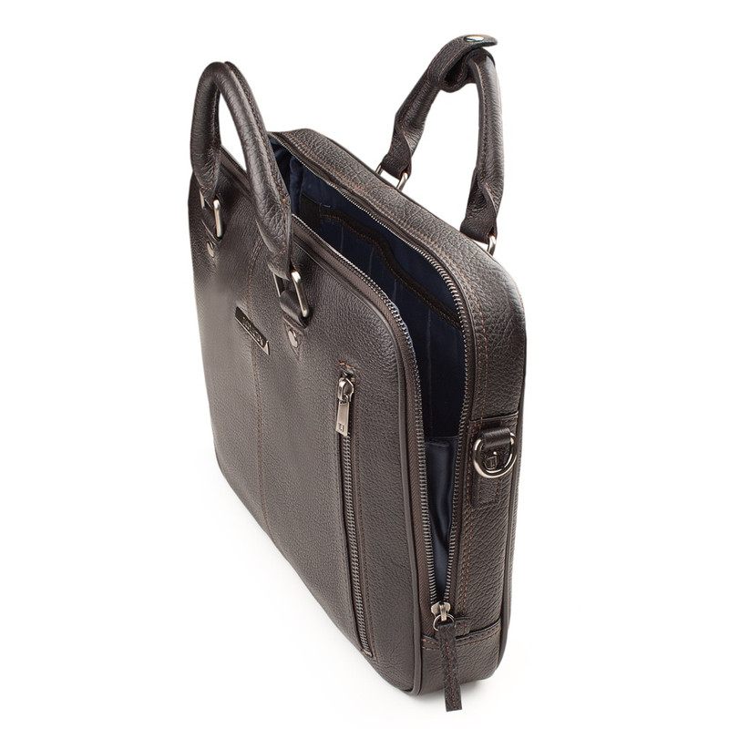 Brown Textured Leather Business Bag Oxford YH 8431316 DBI R | TJ COLLECTION | Side Image - 3