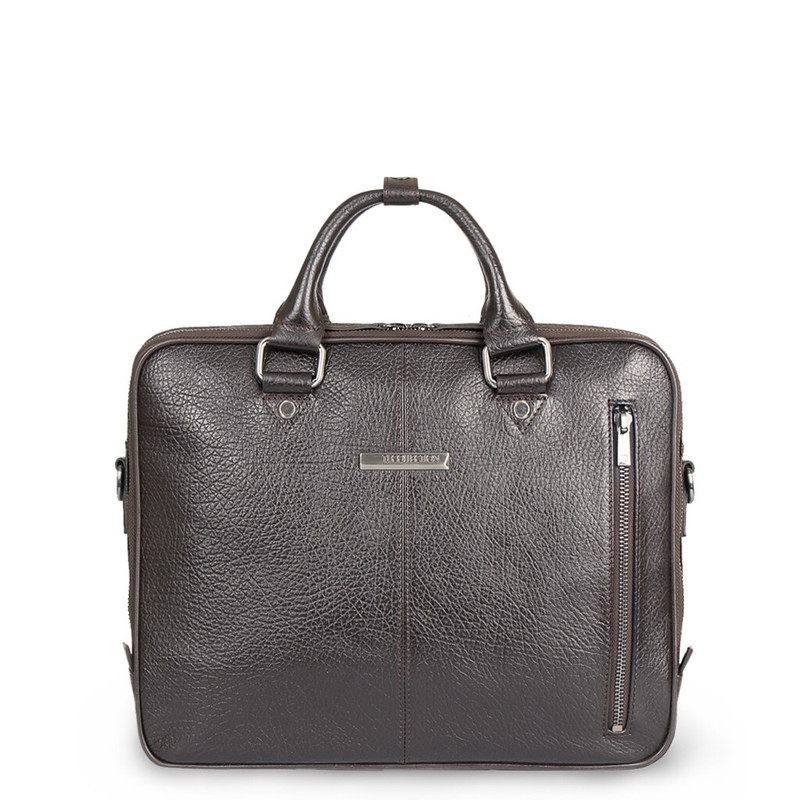 Brown Textured Leather Business Bag Oxford YH 8431316 DBI R