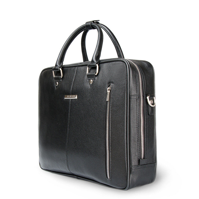 Black Grained Leather Travel Bag YH 8471312 BLK | TJ COLLECTION | Side Image - 1