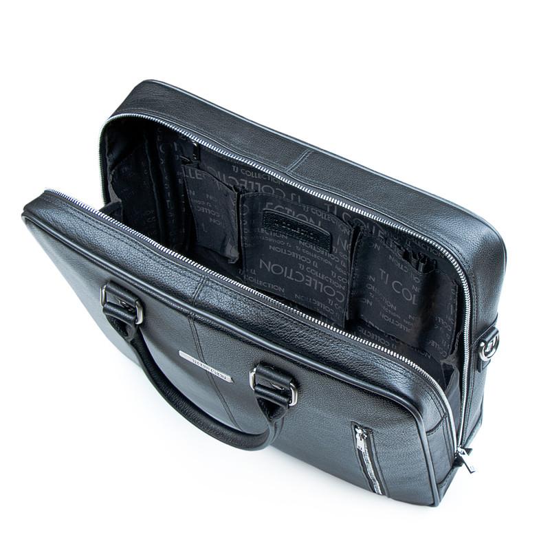 Black Grained Leather Travel Bag YH 8471312 BLK | TJ COLLECTION | Side Image - 3