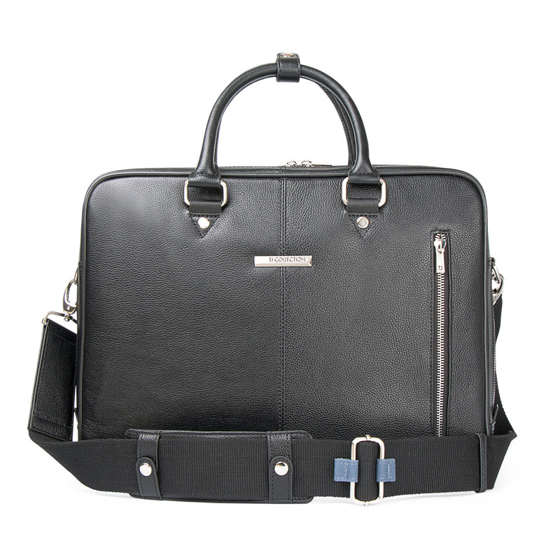 Black Grained Leather Travel Bag YH 8471312 BLK | TJ COLLECTION | Side Image - 4