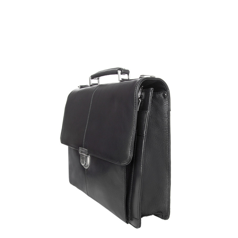 Black Textured Leather Classic Business Bag XH 7450310 BLK | TJ COLLECTION | Side Image - 1