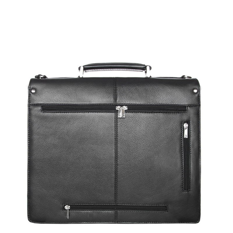 Black Textured Leather Classic Business Bag XH 7450310 BLK | TJ COLLECTION | Side Image - 2