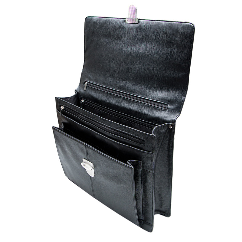 Black Textured Leather Classic Business Bag XH 7450310 BLK | TJ COLLECTION | Side Image - 3