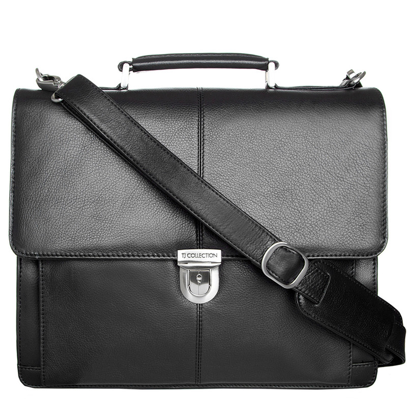 Black Textured Leather Classic Business Bag XH 7450310 BLK | TJ COLLECTION | Side Image - 4