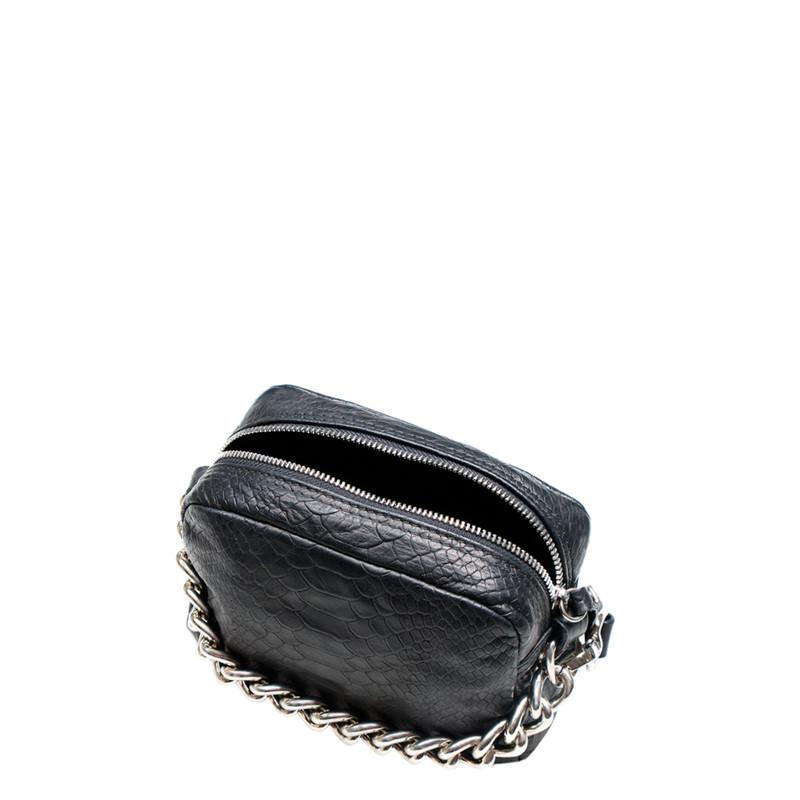 Black Embossed Leather Chain Trim Shoulder Bag Rimini YG 5104111 BLZ | TJ COLLECTION | Side Image - 3