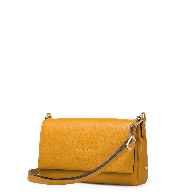 Yellow Leather Shoulder Bag Monte-Carlo YG 5152517 YLG | TJ COLLECTION | Side Image - 1