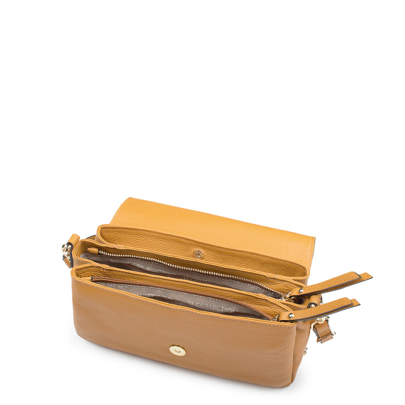 Yellow Leather Shoulder Bag Monte-Carlo YG 5152517 YLG | TJ COLLECTION | Side Image - 3