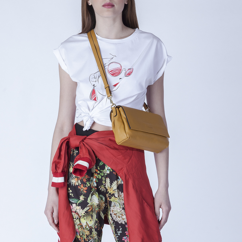 Yellow Leather Shoulder Bag Monte-Carlo YG 5152517 YLG | TJ COLLECTION | Side Image - 4