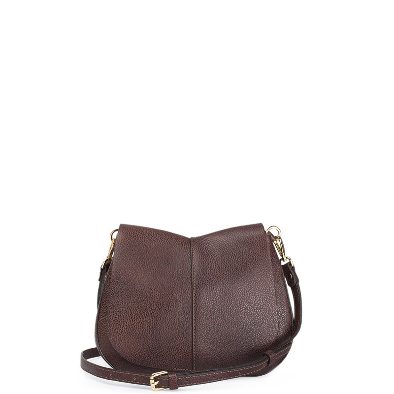 Brown Leather Cross-Body Saddle Bag Ascot YG 5204017 BRA