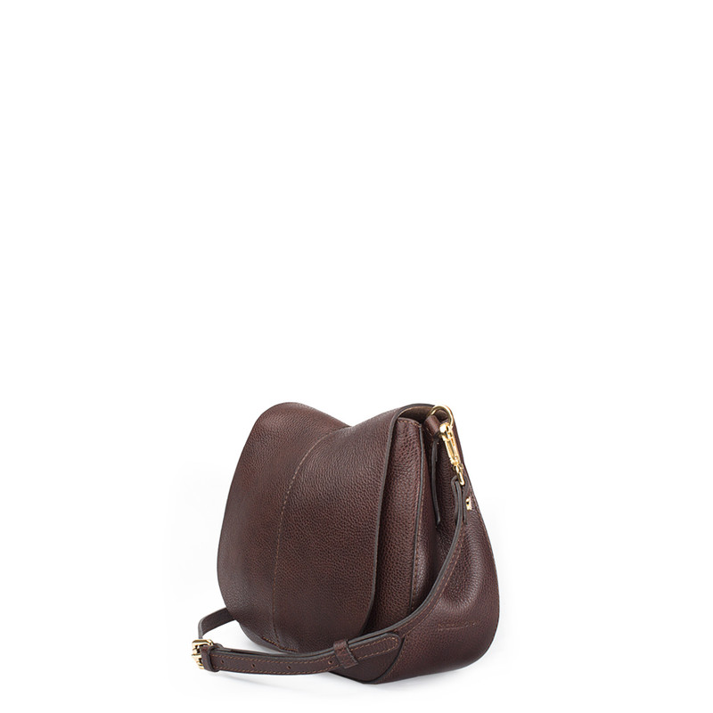 Brown Leather Cross-Body Saddle Bag Ascot YG 5204017 BRA | TJ COLLECTION | Side Image - 1
