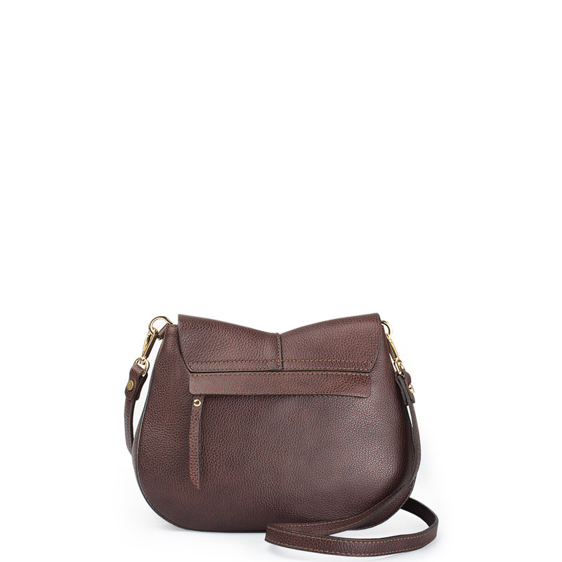 Brown Leather Cross-Body Saddle Bag Ascot YG 5204017 BRA | TJ COLLECTION | Side Image - 2