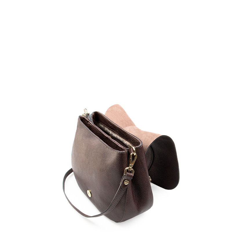 Brown Leather Cross-Body Saddle Bag Ascot YG 5204017 BRA | TJ COLLECTION | Side Image - 3