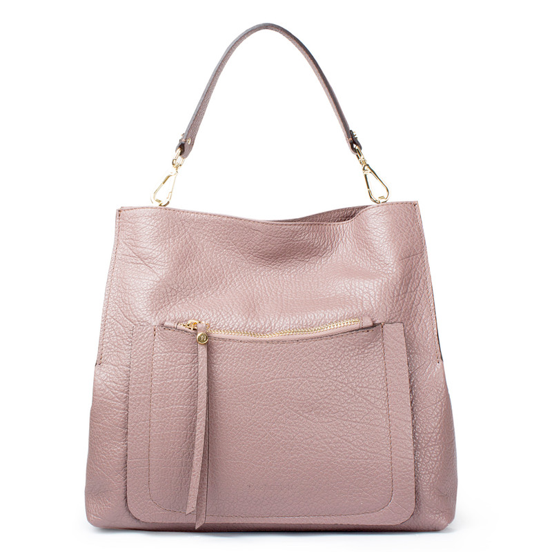 Dusted Rose Grained Leather Boho Bag Barcelona YG 5368017 TPA