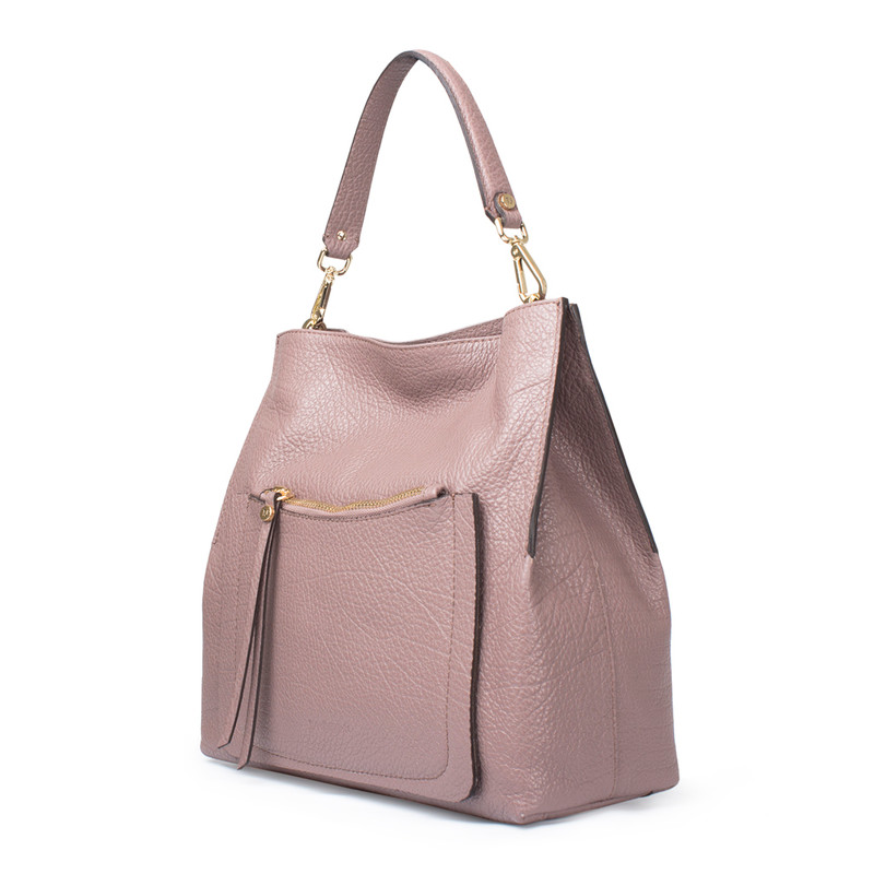 Dusted Rose Grained Leather Boho Bag Barcelona YG 5368017 TPA | TJ COLLECTION | Side Image - 1
