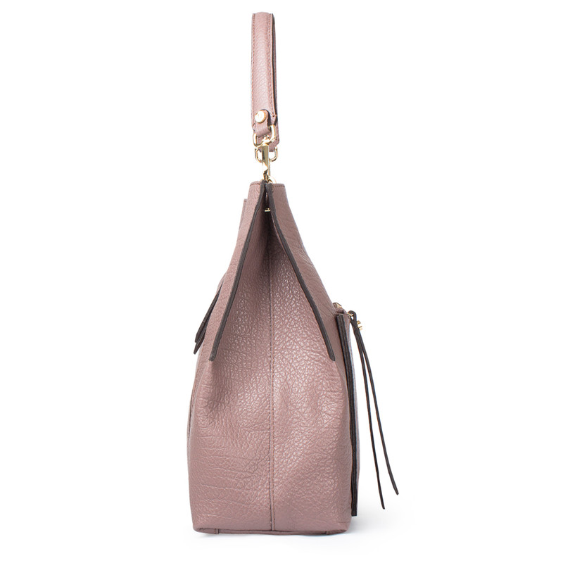 Dusted Rose Grained Leather Boho Bag Barcelona YG 5368017 TPA | TJ COLLECTION | Side Image - 2