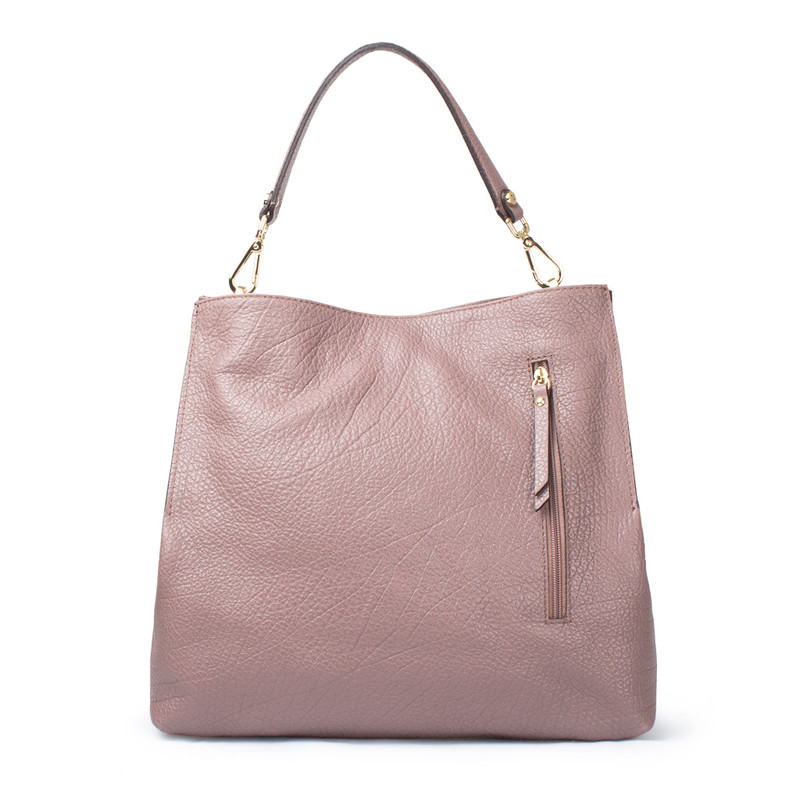 Dusted Rose Grained Leather Boho Bag Barcelona YG 5368017 TPA | TJ COLLECTION | Side Image - 3
