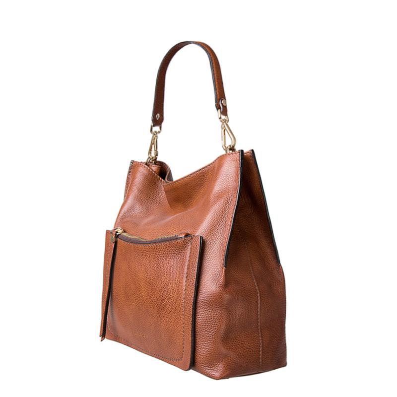 Grained Leather Boho Bag Barcelona YG 5368015 CGA | TJ COLLECTION | Side Image - 1