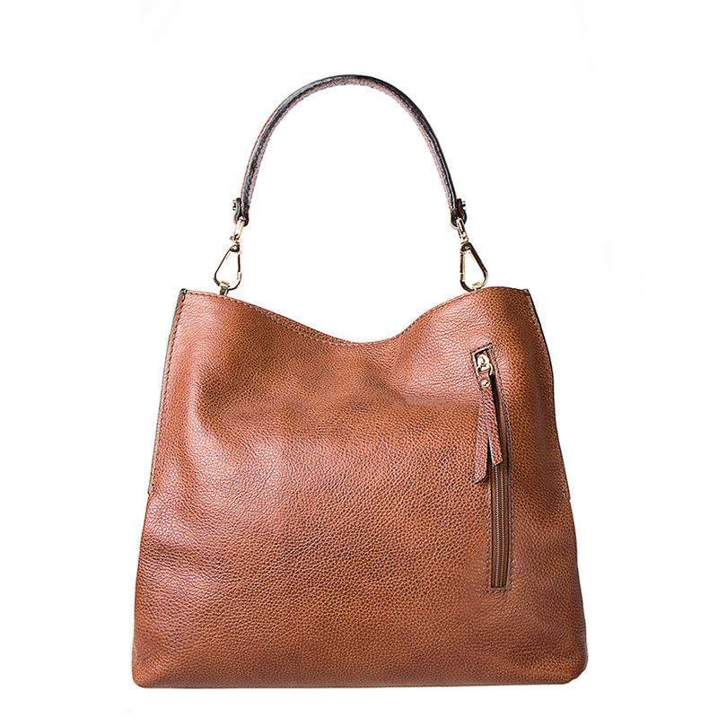 Grained Leather Boho Bag Barcelona YG 5368015 CGA | TJ COLLECTION | Side Image - 2