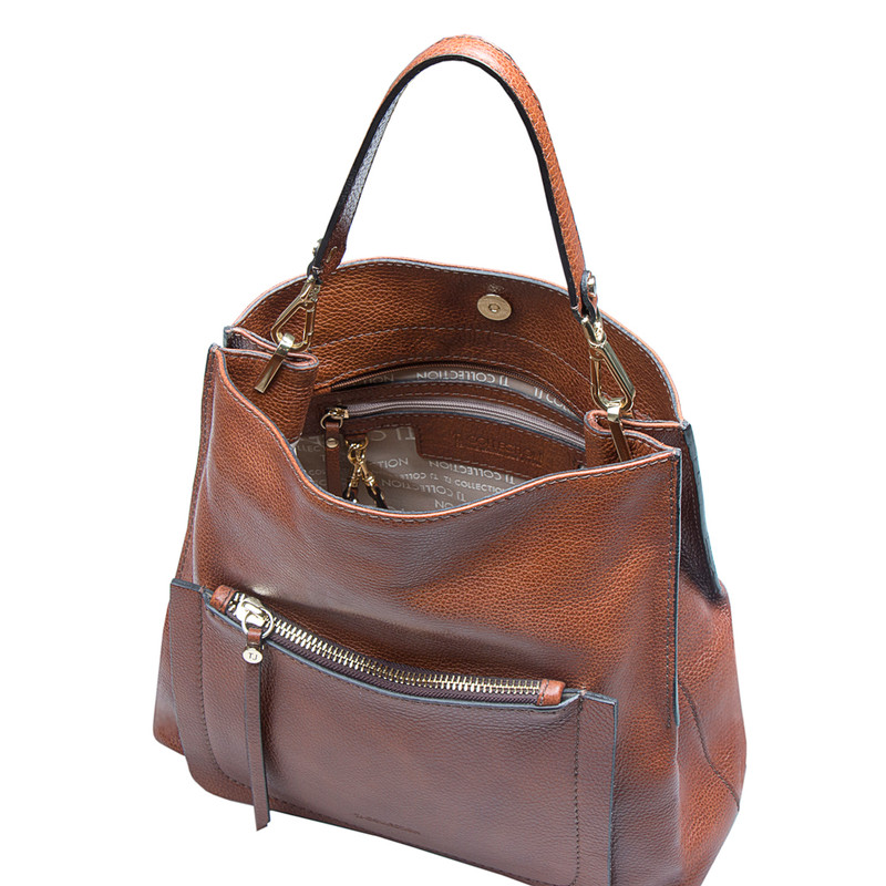 Grained Leather Boho Bag Barcelona YG 5368015 CGA | TJ COLLECTION | Side Image - 3