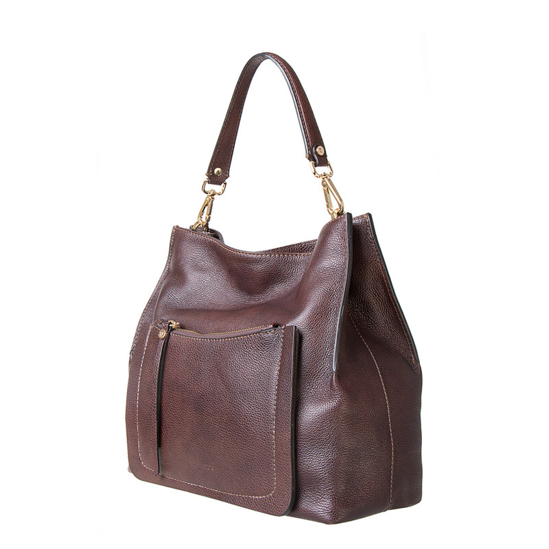 Brown Grained Leather Boho Bag Barcelona YG 5368016 BRA | TJ COLLECTION | Side Image - 1