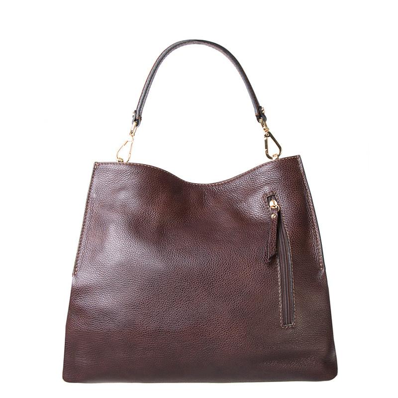 Brown Grained Leather Boho Bag Barcelona YG 5368016 BRA | TJ COLLECTION | Side Image - 2