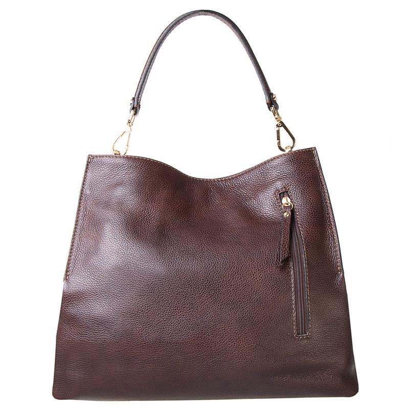 Brown Grained Leather Boho Bag Barcelona YG 5368016 BRA | TJ COLLECTION | Side Image - 3