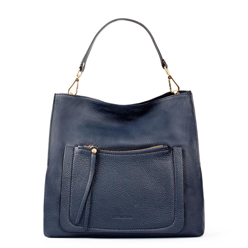 Navy Grained Leather Boho Bag Barcelona YG 5368015 NVY