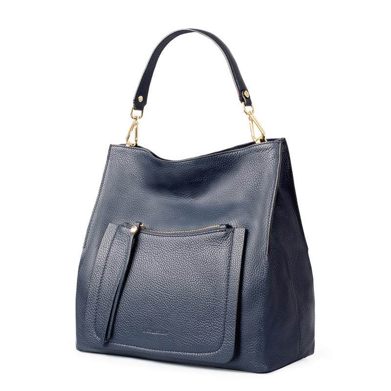 Navy Grained Leather Boho Bag Barcelona YG 5368015 NVY   TJ COLLECTION   Side Image - 1