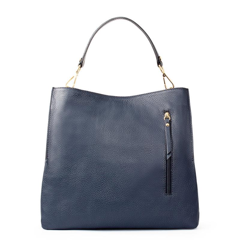 Navy Grained Leather Boho Bag Barcelona YG 5368015 NVY   TJ COLLECTION   Side Image - 2