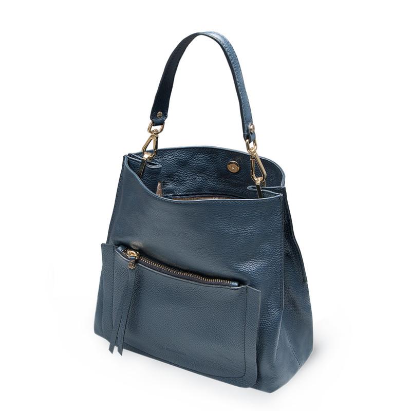 Navy Grained Leather Boho Bag Barcelona YG 5368015 NVY   TJ COLLECTION   Side Image - 3