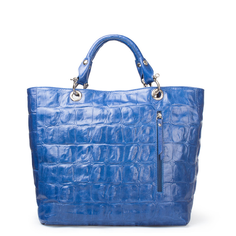 Reptile Embossed Leather Tote Bag Florence YG 5481317 BUC | TJ COLLECTION | Side Image - 2