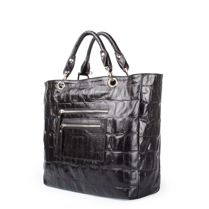 Reptile Print Leather Tote Bag Florence YG 5481318 BLC   TJ COLLECTION   Side Image - 1