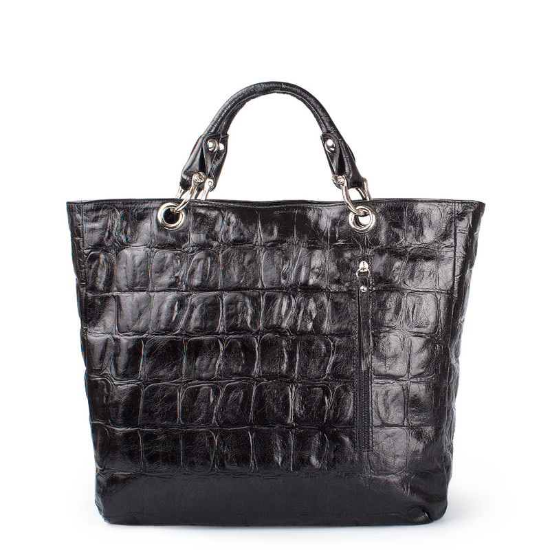 Reptile Print Leather Tote Bag Florence YG 5481318 BLC   TJ COLLECTION   Side Image - 2