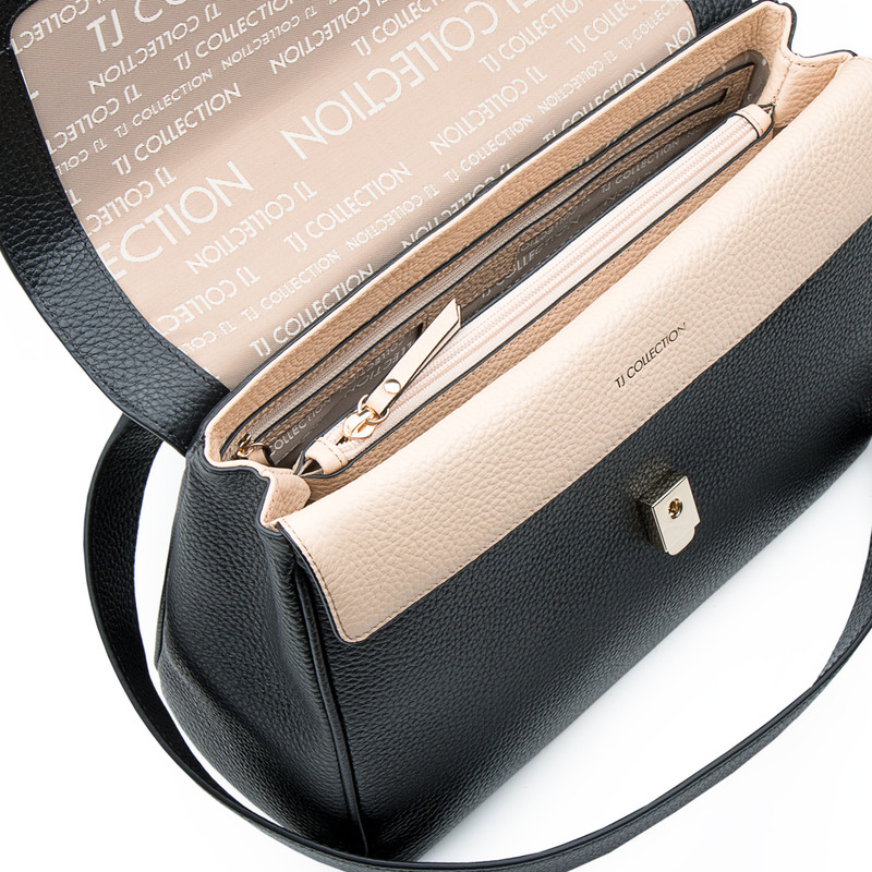 Grained Leather Structured Satchel Bag Lausanne YT 5338017 BLI | TJ COLLECTION | Side Image - 3