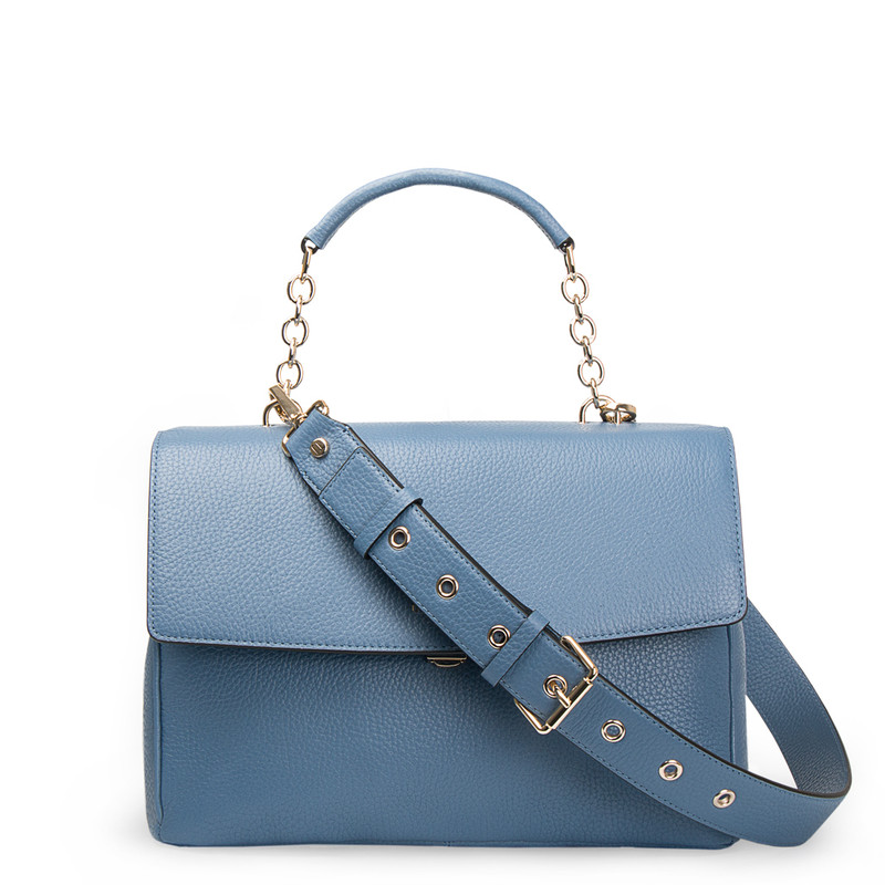 Blue Leather Structured Satchel Bag Lausanne YT 5338017 BLU