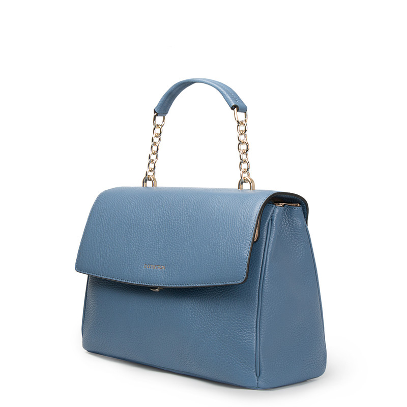 Blue Leather Structured Satchel Bag Lausanne YT 5338017 BLU | TJ COLLECTION | Side Image - 1