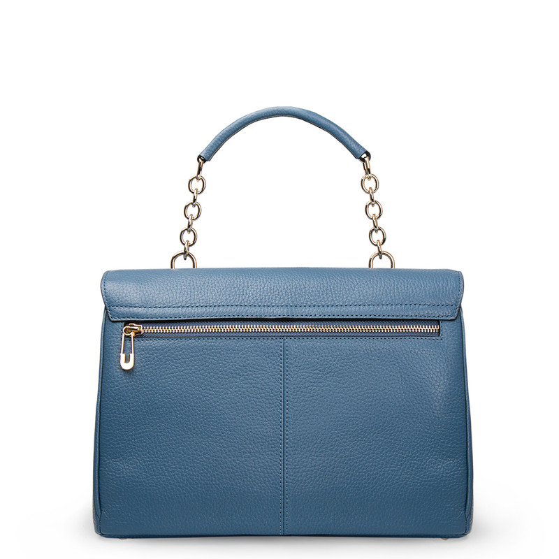 Blue Leather Structured Satchel Bag Lausanne YT 5338017 BLU | TJ COLLECTION | Side Image - 2
