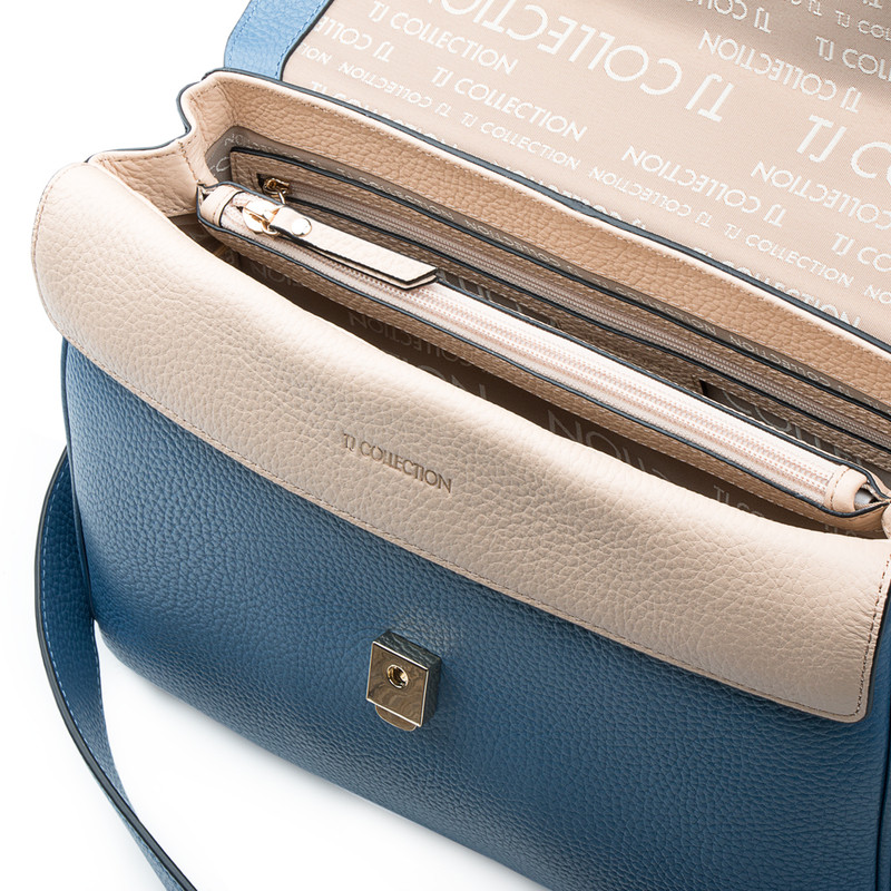 Blue Leather Structured Satchel Bag Lausanne YT 5338017 BLU | TJ COLLECTION | Side Image - 3
