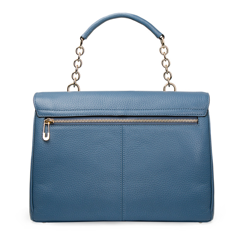Blue Leather Structured Satchel Bag Lausanne YT 5338017 BLU | TJ COLLECTION | Side Image - 4