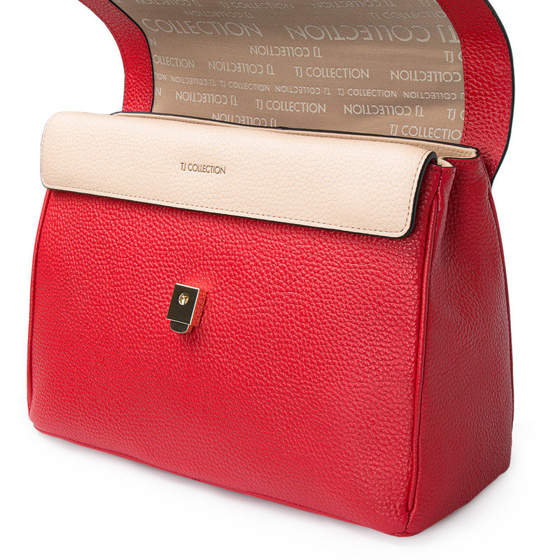 Red Structured Satchel Bag Lausanne YT 5338017 RED | TJ COLLECTION | Side Image - 3
