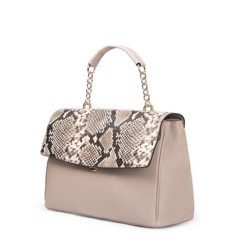 Taupe Grained Leather Structured Satchel Bag Lausanne YT 5338017 TPZ | TJ COLLECTION | Side Image - 1