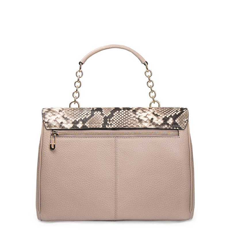 Taupe Grained Leather Structured Satchel Bag Lausanne YT 5338017 TPZ | TJ COLLECTION | Side Image - 2