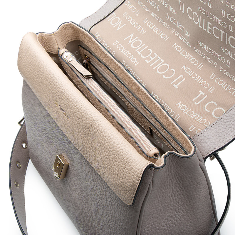 Taupe Grained Leather Structured Satchel Bag Lausanne YT 5338017 TPZ | TJ COLLECTION | Side Image - 3